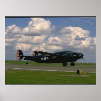 Black B25 Landing. (plane_WWII Planes Poster