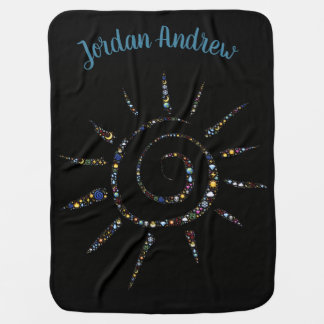 Black Baby Blanket with Swirling Sun and Name