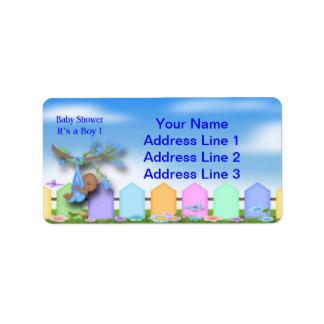 Black Baby Boy - Backyard Baby Shower Address Labe Address Label
