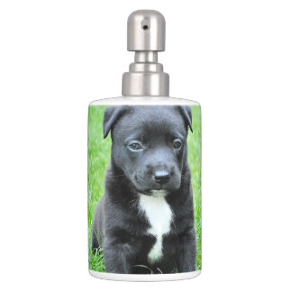 Black Baby Dog Soap Dispenser And Toothbrush Holder