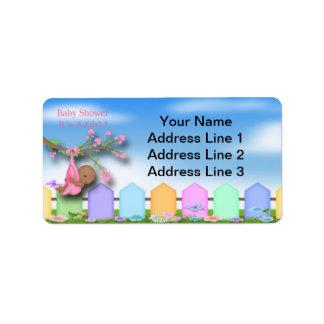 Black Baby Girl - Backyard Baby Shower Address Lab Address Label