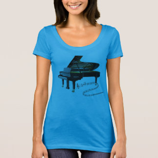 Black Baby Grand Piano & Music Notes T-Shirt