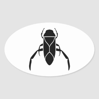 Black Back Swimmer Insect Graphic Print Oval Sticker