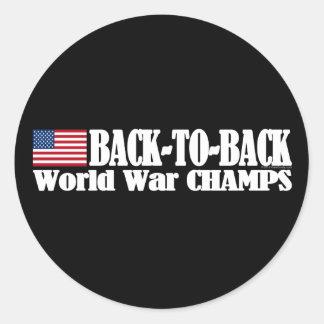 Black Back-To-Back USA Champs Round Sticker