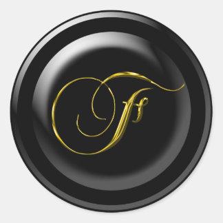 Black Backgournd Wedding Seal Round Sticker