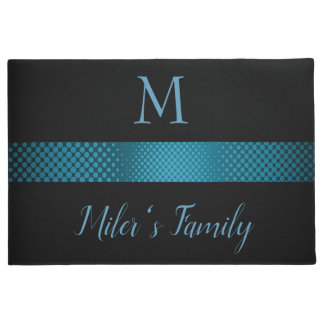 Black Background And Blue Gray Stripes Doormat