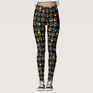 Black Background, Colorful Cat Paws & Claws Print Leggings