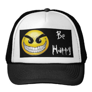 black-background, evil-smiley-face, Be Happy Cap