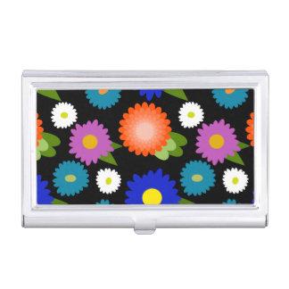 Black Background Flowers Floral Cute Feminine Girl Business Card Holder