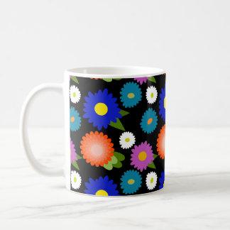 Black Background Flowers Floral Cute Feminine Girl Coffee Mug