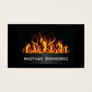 Black Background Orange Flames Fire Business Card