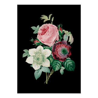 Black background roses bouquet of Redoute print