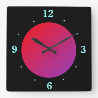 Black Background with Red/Pink Moon> Wall Clock