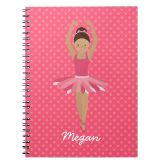 Black Ballerina on Pink Polka Dots Notebooks