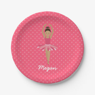 Black Ballerina on Pink Polka Dots Paper Plate