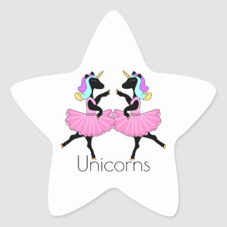 Black Ballerina unicorns star stickers