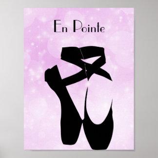 Black Ballet Shoes En Pointe Poster