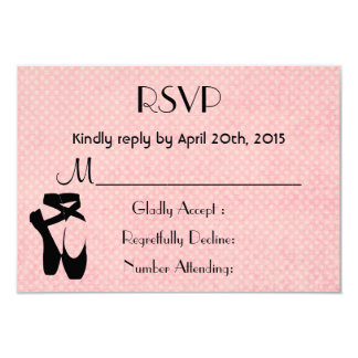 Black Ballet Shoes En Pointe RSVP Card