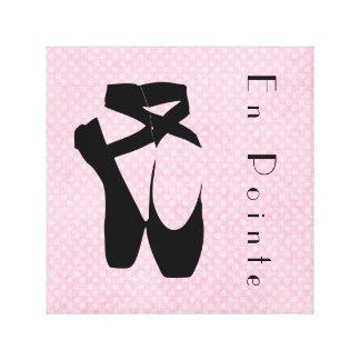 Black Ballet Shoes En Pointe Stretched Canvas Print