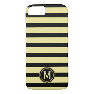 Black & Banana Yellow Stripe Monogram iPhone 8/7 Case