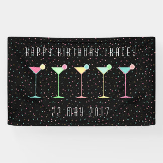 Black Banner, Cocktail Party, Colored Confetti Banner