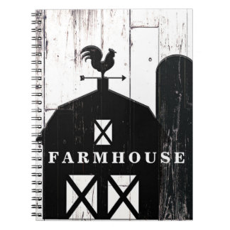 Black Barn White Wood Rustic Country Farmhouse Notebook