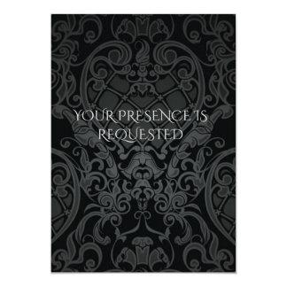 BLACK BAROQUE CREST INVITATION CARDS