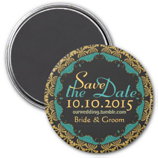 Black Baroque Gold teal Lace Save the Date Magnet