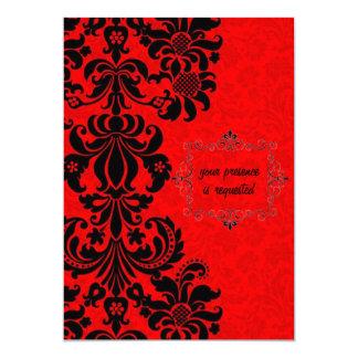 black baroque on red elegant invitation cards