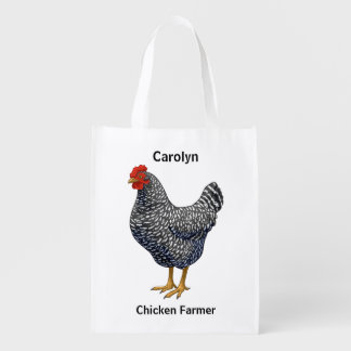 Black Barred Plymouth Rock Hen Reusable Grocery Bag