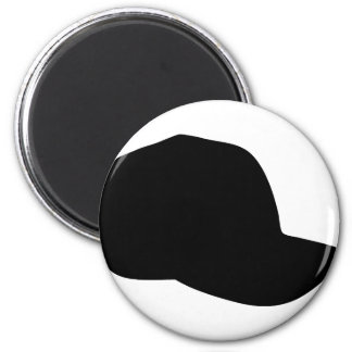 black baseball cap icon 6 cm round magnet