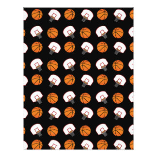 Black basketballs and nets pattern personalized flyer