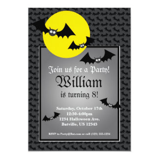 "Black Bat Spooky Halloween Birthday Party Invite 5"" X 7"" Invitation Card"