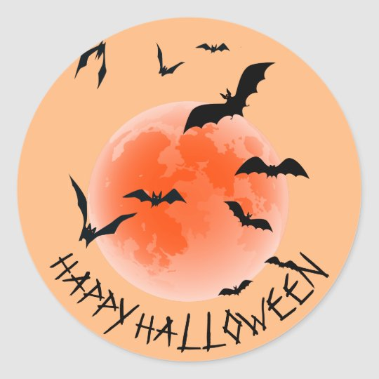 Black Bats And Orange Globe - Happy Halloween Classic Round Sticker