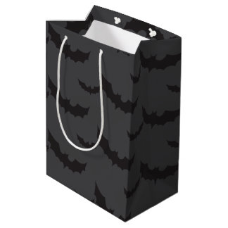 Black bats on dark grey background Halloween Medium Gift Bag