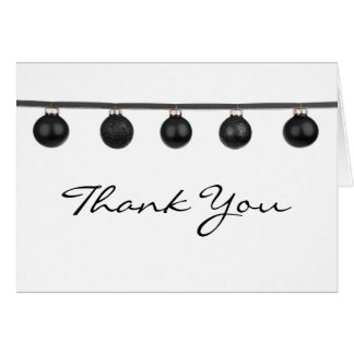 Black Baubles on Ribbon Christmas Thank You Note Card
