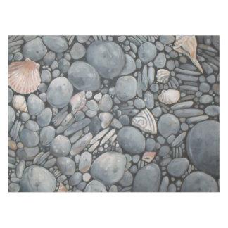 Black Beach Rocks Pebbles Stones Tablecloth