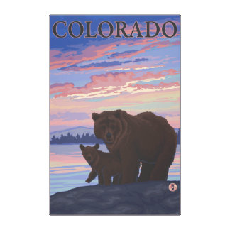 Black Bear and CubColorado Gallery Wrapped Canvas