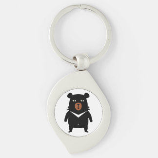 Black bear cartoon key ring