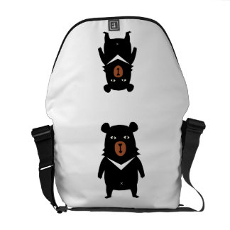 Black bear cartoon messenger bags