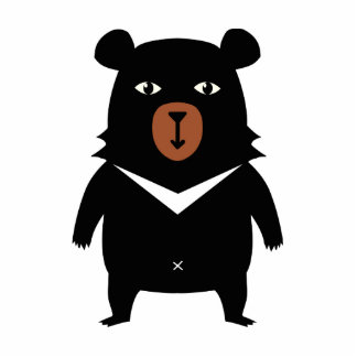 Black bear cartoon photo sculpture key ring