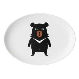 Black bear cartoon porcelain serving platter