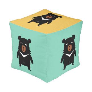 Black bear cartoon pouf