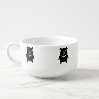 Black bear cartoon soup mug