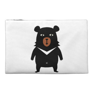 Black bear cartoon travel accessory bag