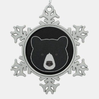 Black Bear Face Snowflake Pewter Christmas Ornament