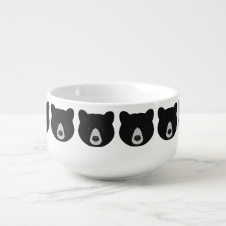 Black Bear Face Soup Mug