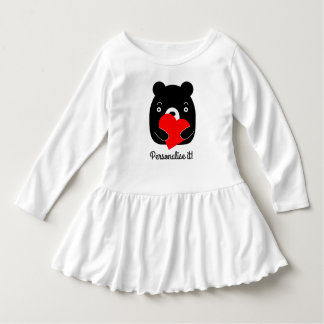 Black bear holding a heart dress