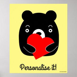Black bear holding a heart poster