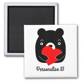 Black bear holding a heart square magnet